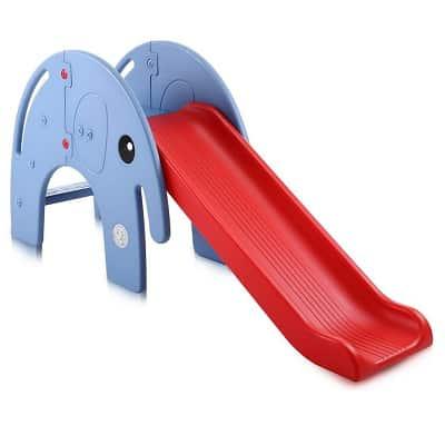 Toboggan Enfant éléphant Baby Vivo bleu et rouge pour les enfants à partir de 3 ans et plus. Disponible aussi en Gris/Jaune et Turquoise/Gris Dimensions: env. 160 x 41 x 76 cm (LxLxH)